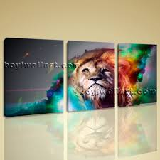 Canvas Prints Home Decor by Large Colorful Lion Head Animal Abstract Canvas Art Print Home