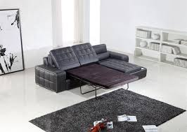 Sectional Pull Out Sofa Modern Black Leather Sectional W Pull Out Sofa Bed