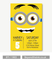 personalised minion invitations printed on professional 300 gsm