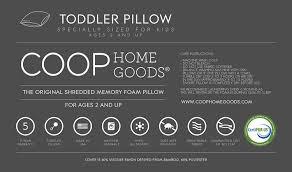amazon com coop home goods shredded memory foam toddler pillow