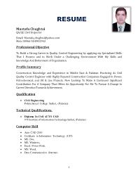 Qa Qc Inspector Resume Sample Sample Cv Civil Engineer Qa Qc Engineer Qatar