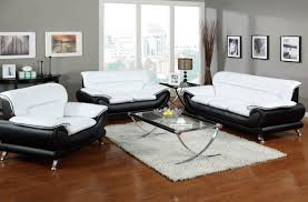 3pc Living Room Set Orel Upholstery Black U0026 White Sofa 50455 Acme Furniture