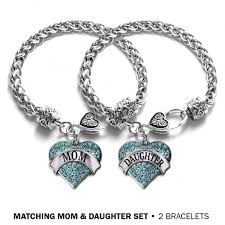 set bracelet images Mom and daughter aqua pave heart bracelet set jpg