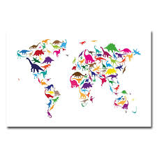 World Map Canvas Art by Amazon Com Trademark Fine Art Dinosaur World Map By Michael