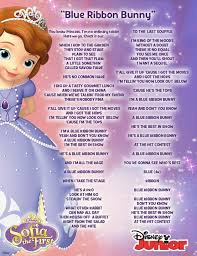 sofia the ribbon lyrics to the blue ribbon bunny song from sofia the