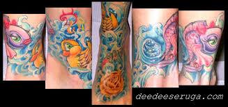 new school water tattoo flower fish rubber ducky in water color tattoo by dee dee tattoonow