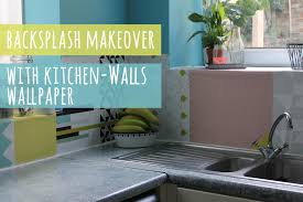 Wallpaper For Kitchen Backsplash by Backsplash Update With Wallpaper Youtube