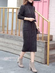 pockets sheath knitted casual sweater dress popjulia com