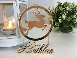 personalised baubles gold mirror custom reindeer ornament