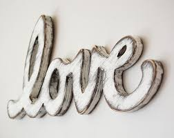 wood sign love vintage wedding sign cottage decor sign white