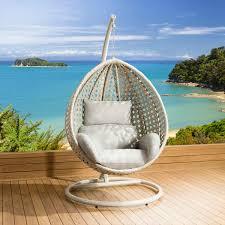 Hanging Outdoor Chairs Pods Quatropi Outdoor Garden Rattan Pod Hanging Chair Set Stone Grey