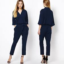 formal jumpsuit fashion v neck three quarter sleeve jumpsuit rompers europe