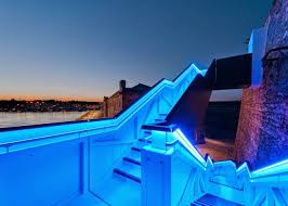 outdoor modern staircase design with colored led lights