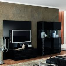 black entertainment center with glass tv stand and electric