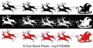santa sleigh and reindeer 3 different of colors of santa sleigh and reindeers clip