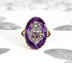engagement rings awesome vintage amethyst antique victorian deep purple amethyst etched rose of sharon 14k