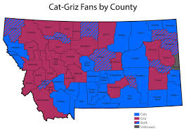 Montana County Map by Survey Results Montana Counties Evenly Divided Between Cats And