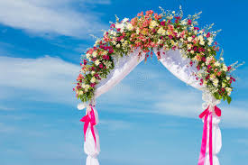 wedding arch gazebo wedding arch cabana gazebo on tropical stock photo image