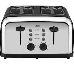 Next Kettle And Toaster Buy Logik L04tbk14 4 Slice Toaster Black U0026 Silver L17skbk14