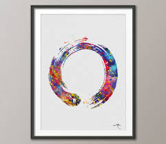 Yoga Home Decor by Zen Circle Enso Symbol Buddhism Meditation Yoga Watercolor Art