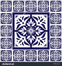 Tile Floor In Spanish by Blue White Tiles Floor Lace Pattern Stock Vector 498970393