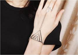 ring bracelet chain silver images Wholesale punk style triangle chain ring bracelet silver yw13041463 jpeg