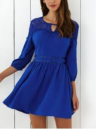 royal blue xl lace insert mini flare cocktail dress rosegal com