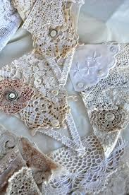 vintage lace and linen bunting 5 flags 4ft wide wedding shabby