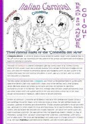 worksheet italian carnival editable