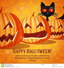 halloween cats background happy halloween greeting card with black cat and stock vector