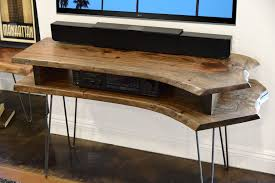 live edge computer desk live edge slab mid century tv stand woodwaves