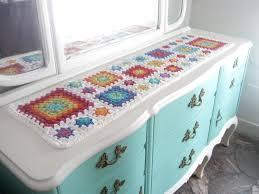 modern afghan table runner rainbow colours mat table granny