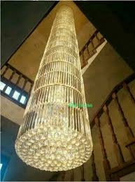 round chandelier light modern stair long crystal round chandeliers lamps spiral