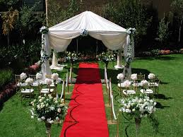 outdoor wedding party decoration with red carpet my big day