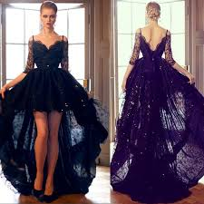 black lace high low prom dresses 2015 spaghetti straps off