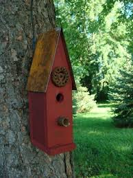 old red rustic birdhouse decorative wood bird house garden or