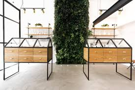 serra cannabis dispensary features greenhouse like display cases