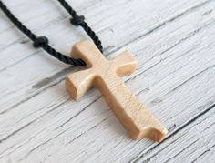 walnut wood cross necklace wooden cross by nikibarsnatureart