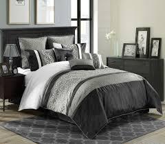 Black And White Comforter Set King 9 Piece King Cambridge Blackcharcoalwhite Comforter Set Also Black