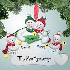 1st ornaments snowman family with 3rd baby