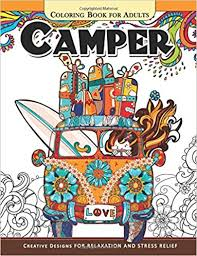 camper coloring book adults color camping van