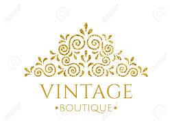 retro flourish decor vintage logo design with gold