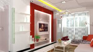 interior red and white interior of modern living room with