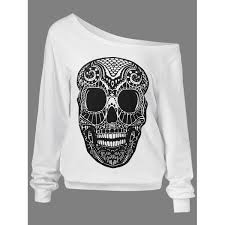 wholesale skulls print skew collar sweatshirt xl white online