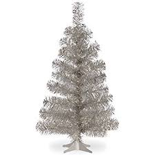 national tree 3 foot silver tinsel tree with plastic
