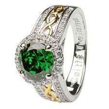 green wedding rings and gold plated green cz halo ring ls sl100grcz