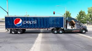 semi trailer truck pepsi on a curtain semi trailer for american truck simulator
