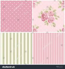 Kitchen Wallpaper Design Set Cute Seamless Shabby Chic Patterns Stock Illustration