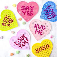 conversation hearts cross stitch conversation hearts stitched modern