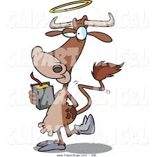 illustration vector cartoon of an friendly cartoon holy cow with a